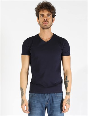 Slim Fit V Yaka Lacivert T-shirt 1827