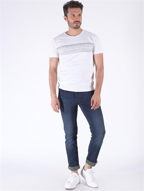 PANAMA 469-07  LACIVERT Dar Fit Denim pantolon